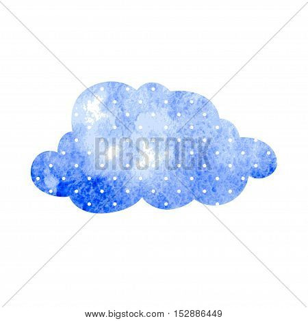 Watercolor blue cloud with polka dots on a white background. Vector illustration.