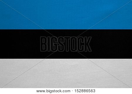Estonian national official flag. Patriotic symbol banner element background. Correct colors. Flag of Estonia with real detailed fabric texture accurate size illustration