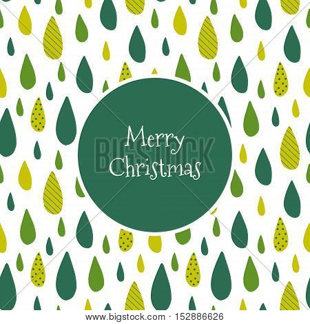 Marry Christmas card with green drops. Vector stylized background.