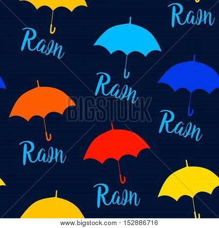 Seamless pattern with color umbrellas and lettering rain. Vector background.