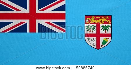Fijian national official flag. Patriotic symbol banner element background. Correct colors. Flag of Fiji with real detailed fabric texture accurate size illustration