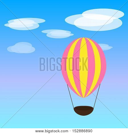 Bright airballon. Have a good day. Digital art. Illustration.