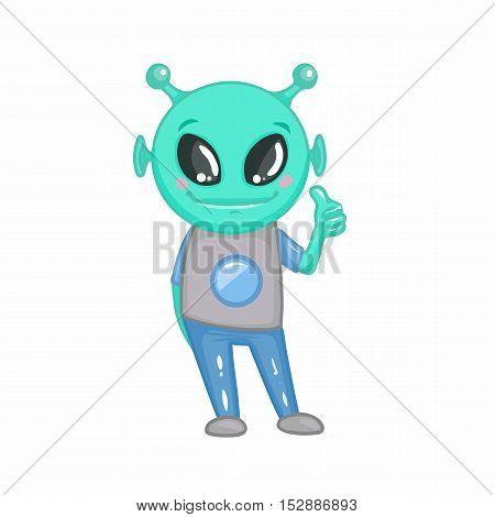 Cartoon funny alien. Smile. Digital art. Illustration.