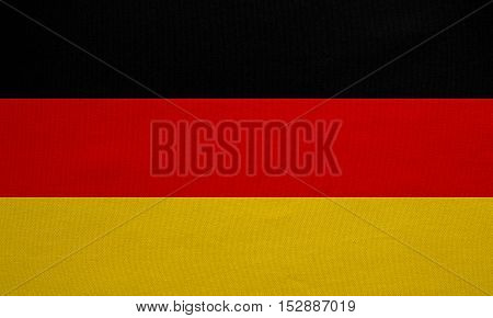 German national official flag. Patriotic symbol banner element background. Correct colors. Flag of Germany with real detailed fabric texture accurate size illustration