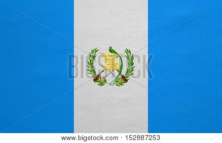 Guatemalan national official flag. Patriotic symbol banner element background. Correct colors. Flag of Guatemala with real detailed fabric texture accurate size illustration