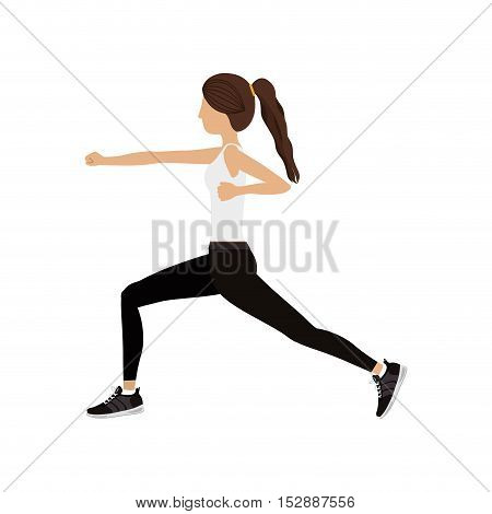 silhouette color woman martial arts fist vector illustration