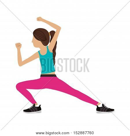 silhouette color woman martial arts kick down vector illustration