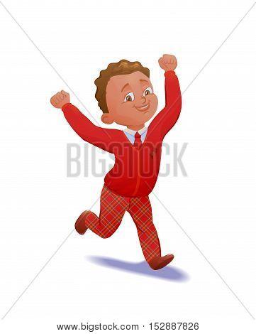 Cute running schoolboy. Pupil in uniform. Cartoon character. Vector illustation