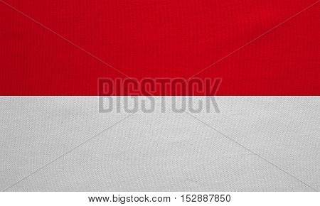 Indonesian national official flag. Patriotic symbol banner element background. Correct colors. Flag of Indonesia Monaco Hesse with real detailed fabric texture accurate size illustration