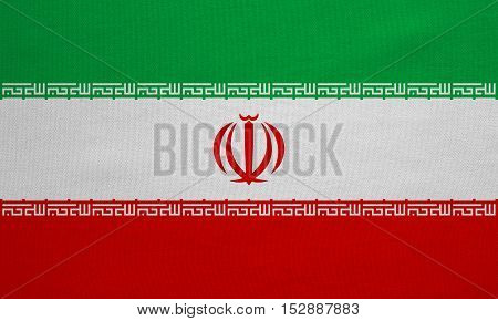 Iranian national official flag. Islamic Republic of Iran patriotic symbol banner element background. Correct colors. Flag of Iran with real detailed fabric texture accurate size illustration