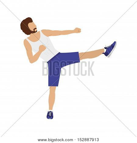 silhouette color man martial arts kick vector illustration