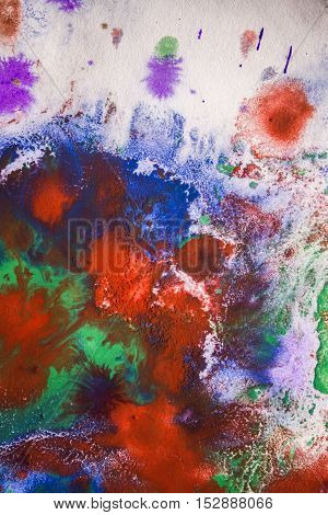 drops with streaks of different colors of paint are mixed