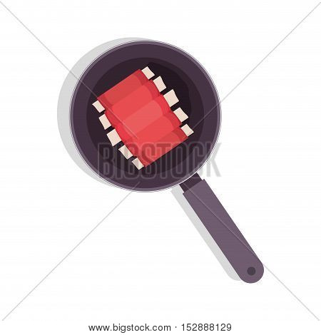 food frying pan with rib vector illustration