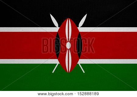 Kenyan national official flag. African patriotic symbol banner element background. Correct colors. Flag of Kenya with real detailed fabric texture accurate size illustration