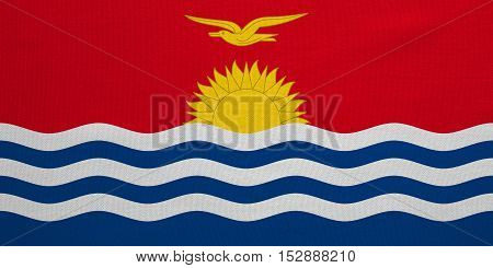 Kiribati national official flag. Patriotic symbol banner element background. Correct colors. Flag of Kiribati with real detailed fabric texture accurate size illustration