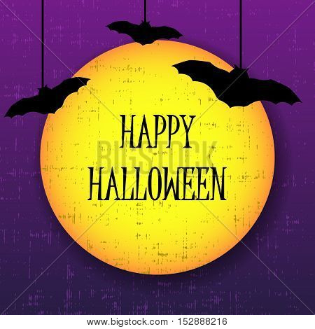 Happy halloween greeting card with moon and bats. Vector illustration.