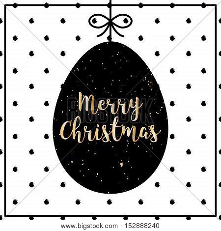 Merry Christmas polka dot card with silhouette of egg. Lettering style with golden text.
