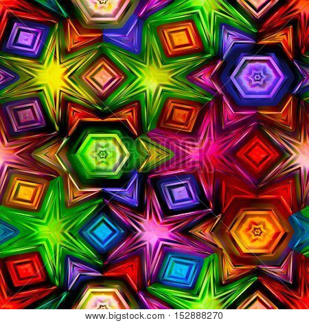 Seamless texture of abstract bright shiny colorful geometric shapes kaleidescope