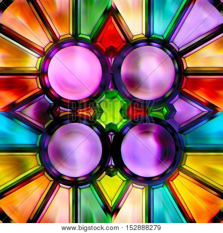 Seamless texture of abstract bright shiny colorful geometric shapes