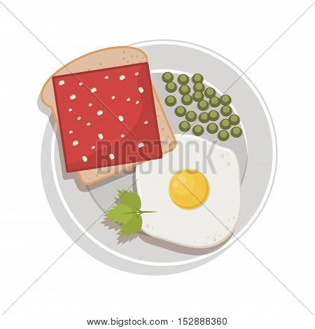 food plate with egg green peas bread ham