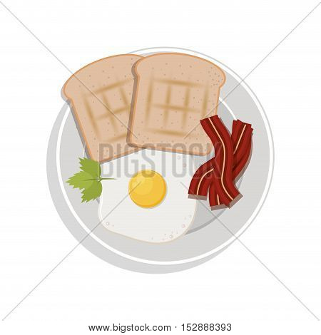 food plate with egg bread bacon cilantro leaf vector illustration