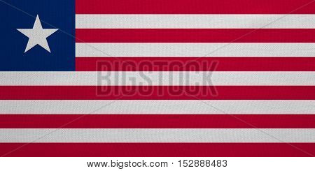 Liberian national official flag. African patriotic symbol banner element background. Correct colors. Flag of Liberia with real detailed fabric texture accurate size illustration
