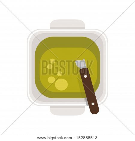 food plate with Green Sauce vector illustration