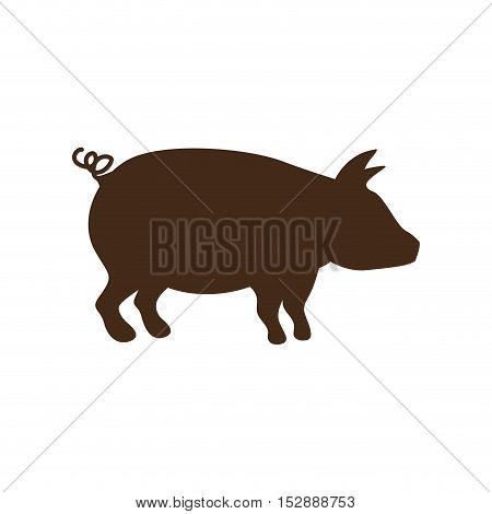 silhouette brown color with pig vector illustration