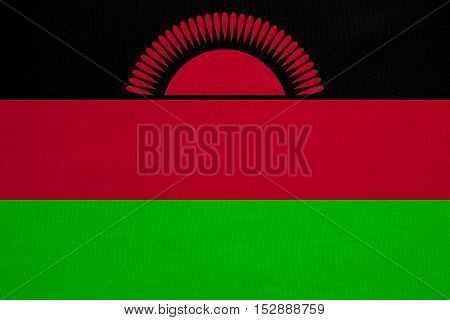 Malawian national official flag. African patriotic symbol banner element background. Correct colors. Flag of Malawi with real detailed fabric texture accurate size illustration