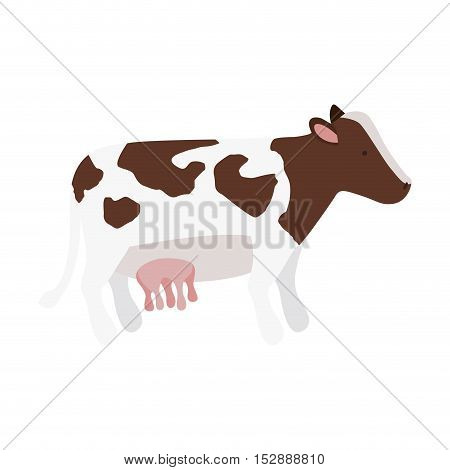 silhouette color with cow brown spots vector illustration