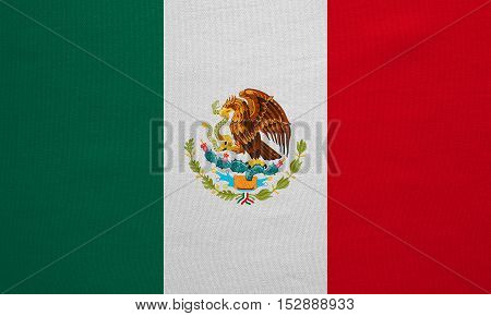 Mexican national official flag. Patriotic symbol banner element background. Correct colors. Flag of Mexico with real detailed fabric texture accurate size illustration