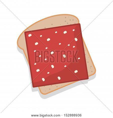 silhouette color bread with ham vector illustration