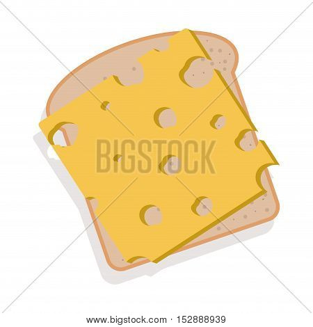 silhouette color bread with cheese vector illustration