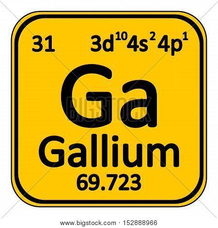 Periodic table element gallium icon on white background. Vector illustration.