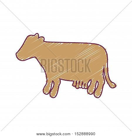 silhouette cow with color strokes vector illustration