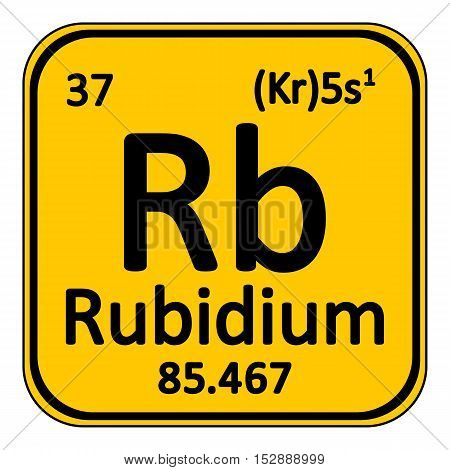 Periodic table element rybidium icon on white background. Vector illustration.