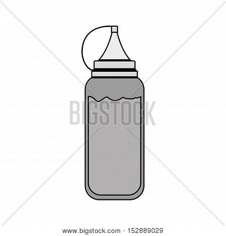 silhouette gray scale bottle ketchup vector illustration