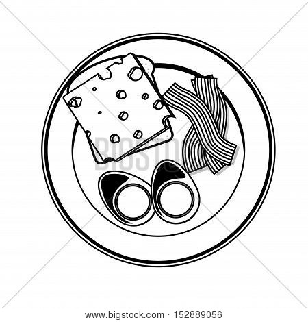silhouette gray scale plate with eggs cheese and bacon vector illustration
