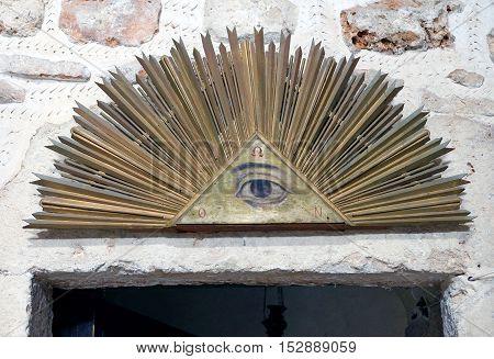 JERUSALEM ISRAEL - OCTOBER 19 2016: Masonic symbol Radiant Delta in the Monastery of the Cross in Jerusalem
