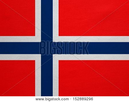 Norwegian national official flag. Patriotic symbol banner element background. Correct colors. Flag of Norway with real detailed fabric texture accurate size illustration