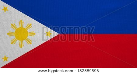 Philippine national official flag. Patriotic symbol banner element background. Correct colors. Flag of the Philippines with real detailed fabric texture accurate size illustration