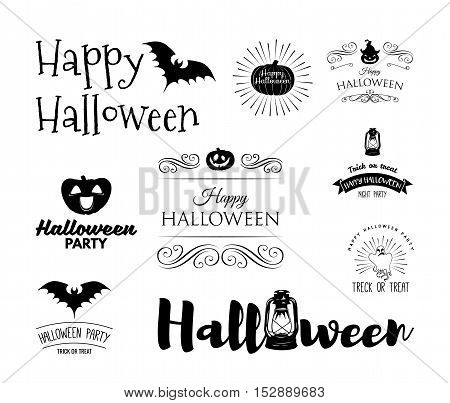 Halloween party invitation label templates with holiday symbols - witch hat, bat, pumpkin, ghost, web. Halloween. Happy Halloween