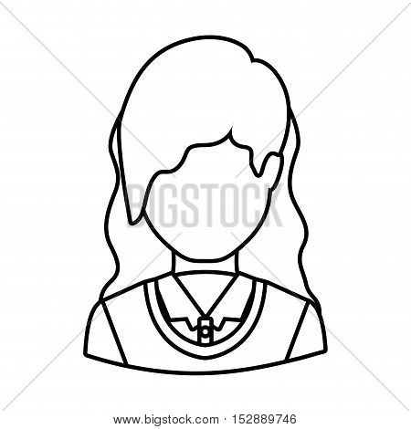 silhouette avatar female woman wearing executive clothes over white background. vector illustration