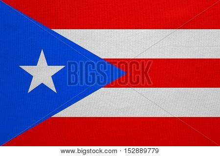 Puerto Rican national official flag. Patriotic symbol banner element background. Correct colors. Flag of Puerto Rico with real detailed fabric texture accurate size illustration