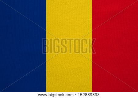 Romanian national official flag. Patriotic symbol banner element background. Correct colors. Flag of Romania with real detailed fabric texture accurate size illustration