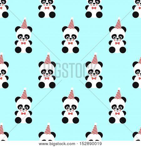 Panda and birthday cap seamless pattern on mint green background.