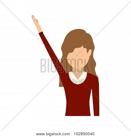 avatar female woman with hand up and wearing executive clothes over white background. vector illustration