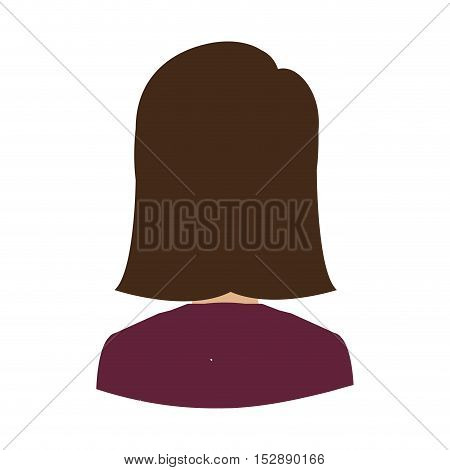 avatar female woman over white background. back view. vector illustration