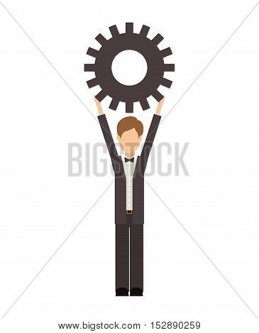 avatar male man wearing suit and bow tie with arms up holding a gear wheel over white background. vector illustration