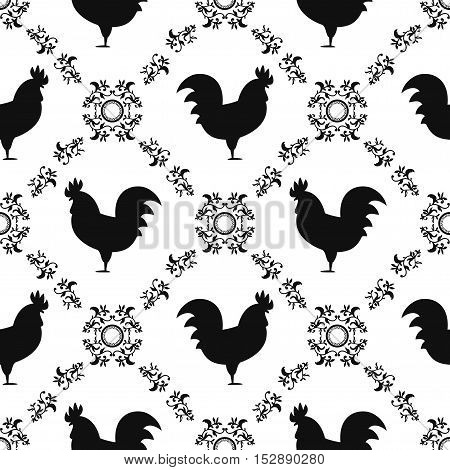 Black and white rooster seamless pattern. Symbol of 2017 year. Chinese New Year of the Rooster. Oriental happy new year illustration.
